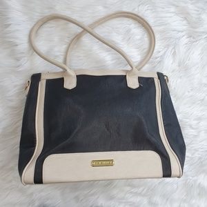 STEVE MADDEN Black / Ivory Purse Tote Shopper Bag